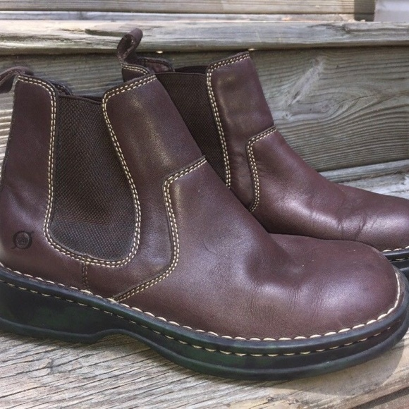 6ae6289f5b7 Born Shoes - BORN BROWN LEATHER PULL ON ANKLE BOOTS Sz 7.5